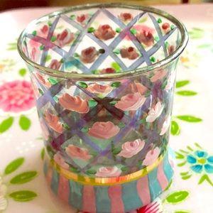 McKenzie Childs Accents - Darling Vintage Mackenzie Childs glass, roses 1983